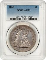 1868 $1 PCGS AU50 - LIBERTY SEATED DOLLAR - LOVELY ROSE TINTS