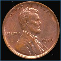 1918 LINCOLN CENT  HIGH GRADE RED BROWN PENNY WITH SHIPS FREE
