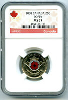 2008 CANADA 25 CENT NGC MS67 UNCIRCULATED POPPY QUARTER COLO