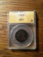 1798 DRAPED BUST LARGE CENT GRADED AG-3