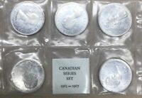 LOT OF 5 CANADA SILVER DOLLARS 80  SILVER COINS 1963   1967