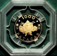 MACAU 1983 YEAR OF PIG 1000 PATACAS GOLD COIN PROOF VERY RAR