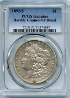 1892-S MORGAN SILVER DOLLAR PCGS GENUINE HARSHLY CLEANED VF DETAILS