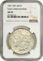 1901 $1 NGC AU53 DDR FEATHERS, VAM-3 - MORGAN SILVER DOLLAR - POPULAR VARIETY