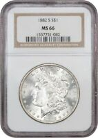 1882-S $1 NGC MINT STATE 66 - MORGAN SILVER DOLLAR