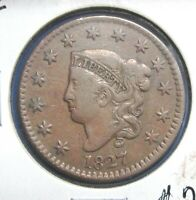 1827 1C CORONET OR MATRON HEAD LARGE CENT CHOICE EXTRA FINE   COLOR S1