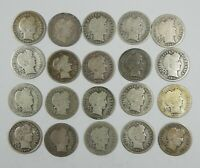 LOT X 20 DIFFERENT DATE/MINTMARK BARBER SILVER DIMES AVE CIRC  1892 - 1915