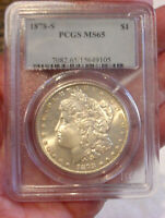 1878-S MORGAN SILVER DOLLAR COIN PCGS GRADED MINT STATE 65