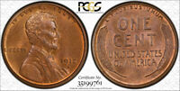 1912 S 1C LINCOLN WHEAT CENT PCGS MINT STATE 65 RB UNCIRCULATED RED BROWN BEAUTIFUL