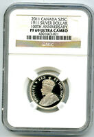 1911 2011 CANADA SILVER PROOF 25 CENT NGC PF69 QUARTER PATTE
