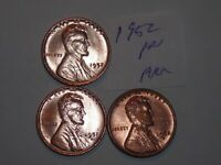 WHEAT CENT LOT 1952,1952-D,1952-S  RED BU SET 1952D,1952S  RED UNC LOT 3