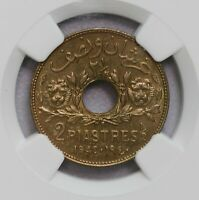 NGC MS65 1940 SYRIA 2 1/2PIASTRE ONLY ONE FINER GEM BU