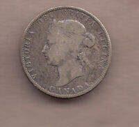 1871H CANADIAN QUEEN VICTORIA SILVER 25 CENT QUARTER OBVERS