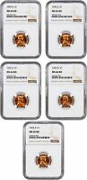 LOT OF 1955-D 1C NGC MINT STATE 66 RD 5 COINS - LINCOLN CENT