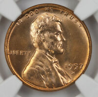 1957 D NGC MINT STATE 67 RD WHEAT CENT 1 CENT 1C SHIPS FREE