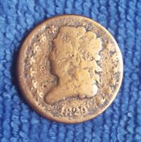 1829 US CLASSIC HEAD HALF CENT COIN 1/2 C NICE CLEANED 191 Y