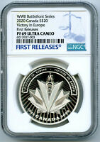 2020 $20 CANADA SILVER PROOF WWII VICTORY IN EUROPE NGC PF69