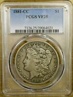 1881-CC PCGS VF25 MORGAN DOLLAR
