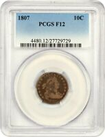 1807 10C PCGS F12 - BUST DIME - AFFORDABLE EARLY TYPE