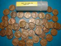 1931-P&D, 1932-P&D, 1933-P&D LINCOLN WHEAT CENT ROLL, 50 COINS, TOUGH DATES