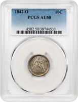 1842-O 10C PCGS AU50 -  O-MINT - SEATED LIBERTY DIME -  O-MINT