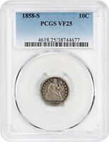 1858-S 10C PCGS VF25 -  S-MINT - SEATED LIBERTY DIME -  S-MINT