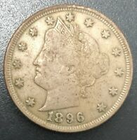 1896 V NICKEL VF CONDITION STRONG LIBERTY T9