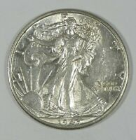 1943-D WALKING LIBERTY HALF DOLLAR ALMOST UNCIRCULATED SILVER 50C