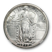1917 D TYPE ONE 25C STANDING LIBERTY QUARTER NGC MINT STATE 64 FH FULL HEAD BLAST WHITE