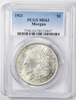1921 $1 MORGAN SILVER ONE DOLLAR PCGS MINT STATE 63 BRILLIANT VAM 41B PITTED FILE LINES
