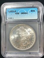 1882 S MORGAN SILVER S$1 DOLLAR COIN MINT STATE 64 VAM 1 BRIGHT WHITE ICG GRADED