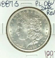 1887-S MORGAN SILVER DOLLAR PL OBV DMPL REV.  BEAUTIFUL COIN