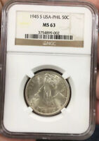 1945 S PHILIPPINES SILVER 50C NGC MINT STATE 63