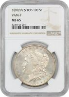 1899-S $1 NGC MINT STATE 65 - FINEST KNOWN TOP 100 VAM KEY DATE - MORGAN SILVER DOLLAR