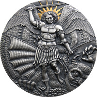 ST. MICHAEL AND THE DRAGON APOCALYPSE ANTIQUE FINISH SILVER
