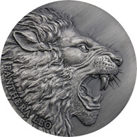 PANTHERA LEO EXPRESSIONS OF WILDLIFE  ANTIQUE FINISH SILVER