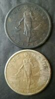 1907 S AND 1908 S PHILIPPINES ONE PESO SILVER COINS