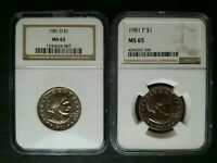 1981 D AND 1981 P $1 SUSAN B. ANTHONY DOLLARS NGC MS65