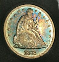 1872 SEATED LIBERTY SILVER DOLLAR AU RAINBOW TONING BLUE