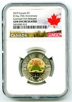 2019 $2 CANADA NGC GEM UNC COLOR TOONIE 75TH D DAY TWO DOLLA