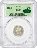 1889 3CN PCGS/CAC PR 65 - 3-CENT NICKEL - OLD GREEN LABEL HOLDER