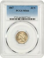 1867 3CN PCGS MINT STATE 66 - GEM TYPE COIN - 3-CENT NICKEL - GEM TYPE COIN