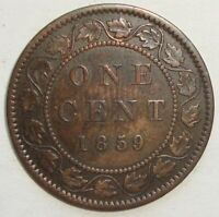 1859 CANADA ONE 1 CENT VICTORIA LARGE PENNY COIN