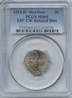 2015 D JEFF 5 135 ROTATED REV. DIE PCGS MS 65