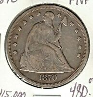 SCARCE US 1870 $1 DOLLAR MINTAGE 410 000 VF WEAK SHIELD