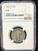 1927 S STANDING LIBERTY SILVER QUARTER NGC GRADED GOOD G6 SEMI KEY COIN