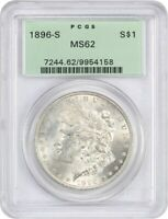 1896-S $1 PCGS MINT STATE 62 OGH - OLD GREEN LABEL HOLDER - MORGAN SILVER DOLLAR