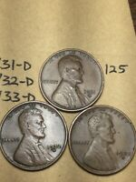 1931-D,1932-D,1933-D LINCOLN WHEAT CENT SET, 3 COINS, TOUGH DATES, 125