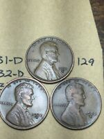 1931-D,1932-D,1933-D LINCOLN WHEAT CENT SET, 3 COINS, TOUGH DATES, 129