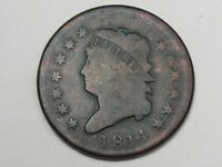 1814 US CLASSIC HEAD LARGE CENT COIN PLAIN